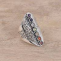 Multi-gemstone cocktail ring, 'Chakra Prism Burst' - Multi-Gemstone Sterling Silver Chakra Prism Ring