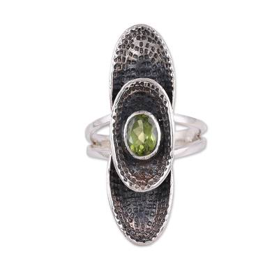 Sterling Silver Oval Faceted Green Peridot Cocktail Ring