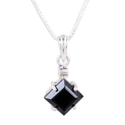 Faceted Square Onyx and Sterling Silver Pendant Necklace