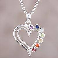 Multi-gemstone heart pendant necklace, 'Rainbow Heart' - Multi-Gemstone Sterling Silver Heart Pendant Necklace