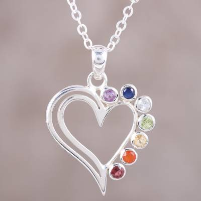 Multi gemstone sterling silver heart pendant necklace rainbow multi gemstone heart pendant necklace rainbow heart multi gemstone sterling aloadofball Images