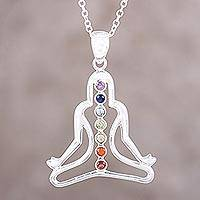 Multi-gemstone chakra pendant necklace, 'Inner Rainbow' - Multi-Gemstone Sterling Silver Meditation Pendant Necklace