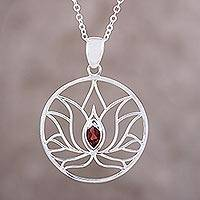Garnet pendant necklace, 'Lotus Heart' - Garnet Sterling Silver Lotus Flower Pendant Necklace