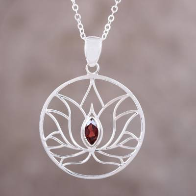 Garnet Sterling Silver Lotus Flower Pendant Necklace Lotus Heart