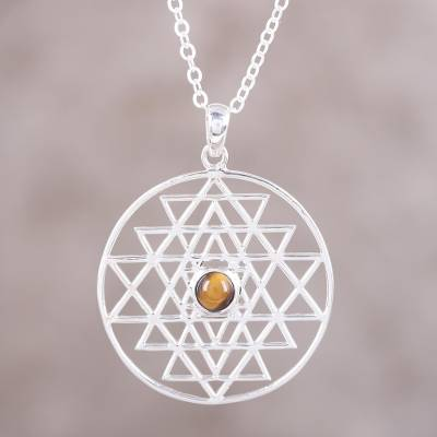 Yoga Inspired Sterling Silver Tiger's Eye Pendant Necklace