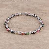 Tourmaline tennis-style bracelet, 'Spring Glory' - Colorful Tourmaline Tennis-Style Bracelet from India