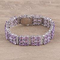 Amethyst wristband bracelet, 'Lilac Path' - Lilac Faceted Sterling Silver Amethyst Wristband Bracelet