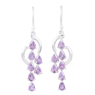 Handcrafted Amethyst and Sterling Silver Waterfall Earrings