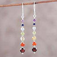 Multi-gemstone dangle earrings, 'Rainbow Dewdrops' - Faceted Multi-Gemstone Sterling Silver Cascade Earrings
