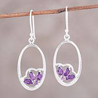 Amethyst dangle earrings, 'Petite Violet' - Handcrafted Amethyst Sterling Silver Oval Dangle Earrings