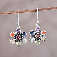 Multi-gemstone dangle earrings, 'Colorful Chakra' - Multi-Gemstone Dangle Earrings from India
