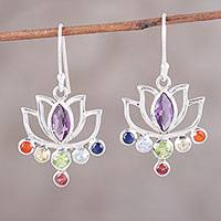 Multi-gemstone dangle earrings, 'Sparkling Lotus' - Multi-Stone Sterling Silver Sparkling Lotus Chakra Earrings