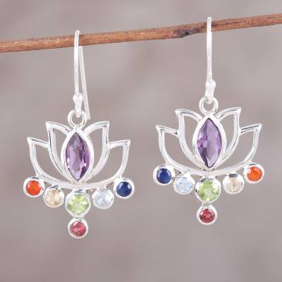 silver rose gem affici on cz earrings colour gold multi gemstone