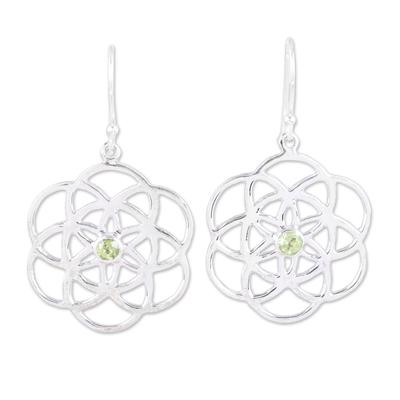 Sterling Silver Peridot Molecular Flowers Dangle Earrings