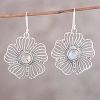 Labradorite dangle earrings, 'Celestial Flowers' - Sterling Silver Labradorite Celestial Floral Dangle Earrings