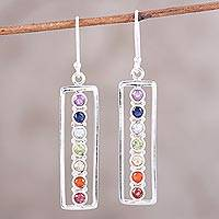 Multi-gemstone dangle earrings, 'Chakra Embrace' - Multi-Gemstone Modern Dangle Earrings Handcrafted in India