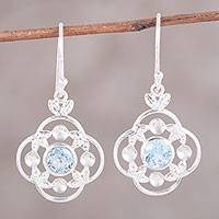 Blue topaz dangle earrings, 'Flower Circle' - Blue Topaz Sterling Silver Rounded Flower Dangle Earrings