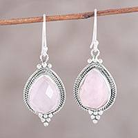 Rose quartz dangle earrings, 'Rose Dewdrops' - Rose Quartz Sterling Silver Teardrop Dangle Earrings