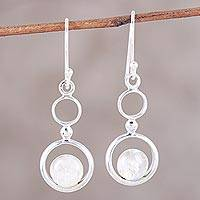 Rainbow moonstone dangle earrings, 'Dancing Moon' - Rainbow Moonstone and Sterling Silver Circle Dangle Earrings