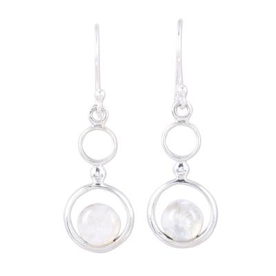 Rainbow Moonstone and Sterling Silver Circle Dangle Earrings