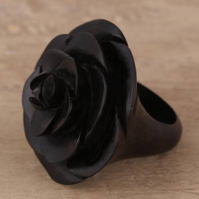 black and silver bead necklace - Hand-Carved Rose Flower Wood Cocktail Ring from India