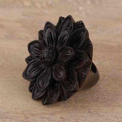 Hand-Carved Sunflower Wood Cocktail Ring from India