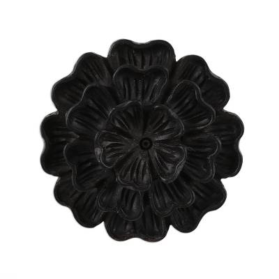 Hand-Carved Marigold Flower Wood Cocktail Ring from India