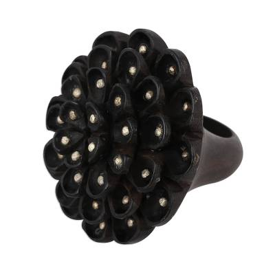 Wood and Sterling Silver Floral Cocktail Ring from India
