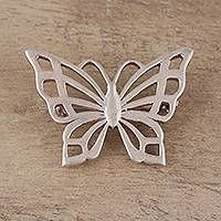 Sterling silver brooch, 'Dainty Butterfly' - Sterling Silver Butterfly Brooch Crafted in India