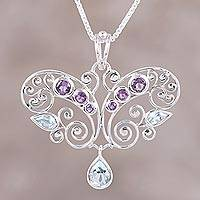 Amethyst and blue topaz pendant necklace, 'Elegant Flutter' - Handmade Amethyst and Blue Topaz Pendant Necklace from India