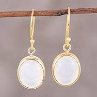 Gold plated moonstone dangle earrings, 'Daybreak Dew' - 22k Gold Plated Sterling Silver Moonstone Dangle Earrings