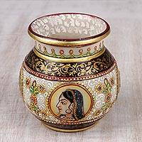 Marble decorative vase, 'Jaipur Royalty' - Marble Decorative Vase Hand-Painted with 22k Gold Leaf