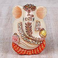 Marble figurine, 'Ganesha of Peace' (4 in.) - Hand-Painted Marble Ganesha Figurine (4 in.) from India