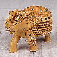 Wood figurine, 'Adorned Elephant'