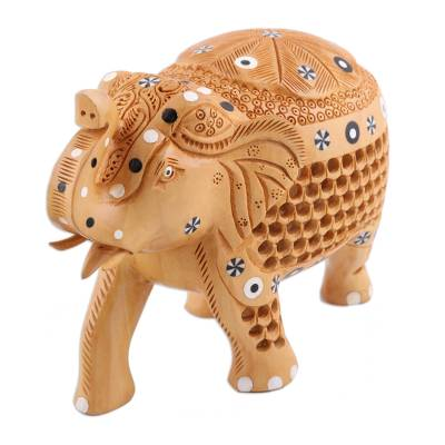 Wood figurine, 'Adorned Elephant' - Hand-Carved Wood Elephant with Baby Figurine from India