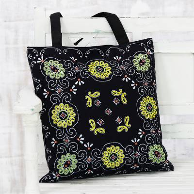 Glass beaded cotton tote, 'Blossoms in the Dark' - Floral Glass Beaded Cotton Tote from India