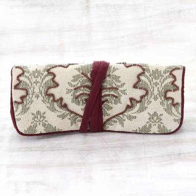 Cotton jewelry roll, 'Treasure Wrap' - Olive and Antique White Burgundy Trim Cotton Jewelry Roll