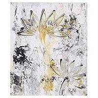 'Evening Lily' - Signed Abstract Floral Painting from India