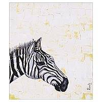 'Royal Zebra' - Signed Modern Zebra Painting from India