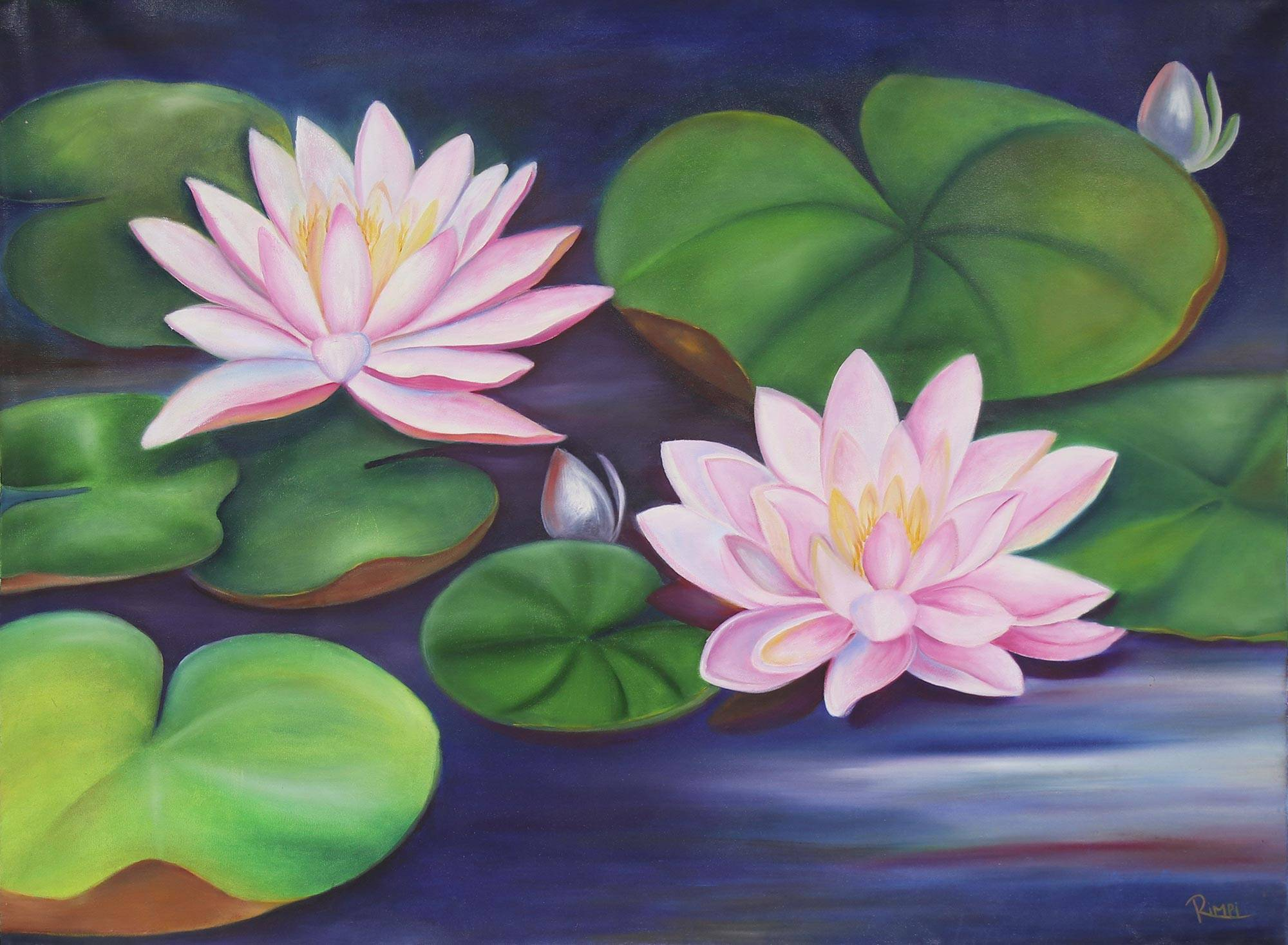 Signed Realist Painting Of Lotus Flowers From India Lotus Splendor