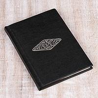 Leather journal, 'Serene River' - Black Leather Fish Pair Emblem Journal with Handmade Paper