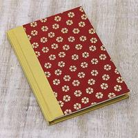 Handmade paper journal, 'Flowering Thoughts' - Red and Yellow Flower Motif Journal with Handmade Paper