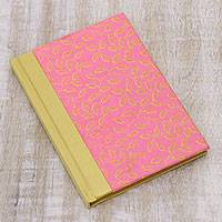Handmade paper journal, 'Pastel Leaves' - Pink and Yellow Vine Motif Journal with Handmade Paper