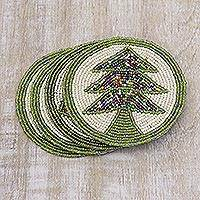 Beaded coasters, 'Pine Boughs' (set of 4) - Green and White Tree Motif Beaded Felt Coasters (Set of 4)
