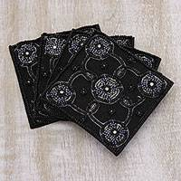 Beaded coasters, 'Midnight Glimmer' (set of 4) - Black Floral Motif Bead Embroidered Coasters (Set of 4)