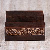 Wood mobile device stand, 'Desk Garden' - Wood Mobile Device Stand with Hand Carved Floral Motif