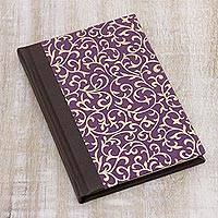 Leather journal, 'Golden Climb' - Brown Leather and Purple Vine Motif Journal Handmade Paper