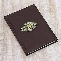Leather journal, 'Golden Elephant' - Brown Leather Elephant Emblem Journal with Handmade Paper