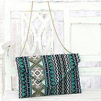 Cotton blend convertible clutch/shoulder bag, 'Creative Charm' - Multi-Color Cotton Blend Convertible Clutch/Shoulder Bag