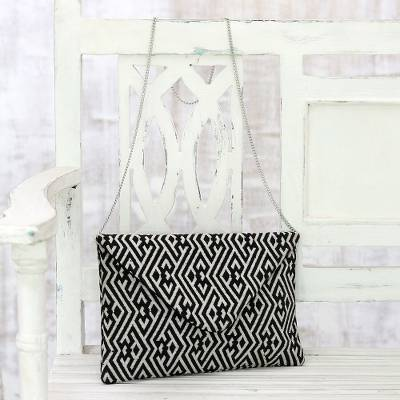 Cotton convertible clutch/shoulder bag, 'Directional Style' - Black and White Cotton Convertible Clutch/Shoulder Bag